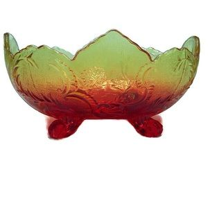 Carnival Glass Amberina Footed Centerpiece Bowl